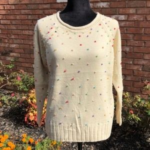 3/30$🌟NWT.Crew Neck Faux Pearl Beaded Sweater